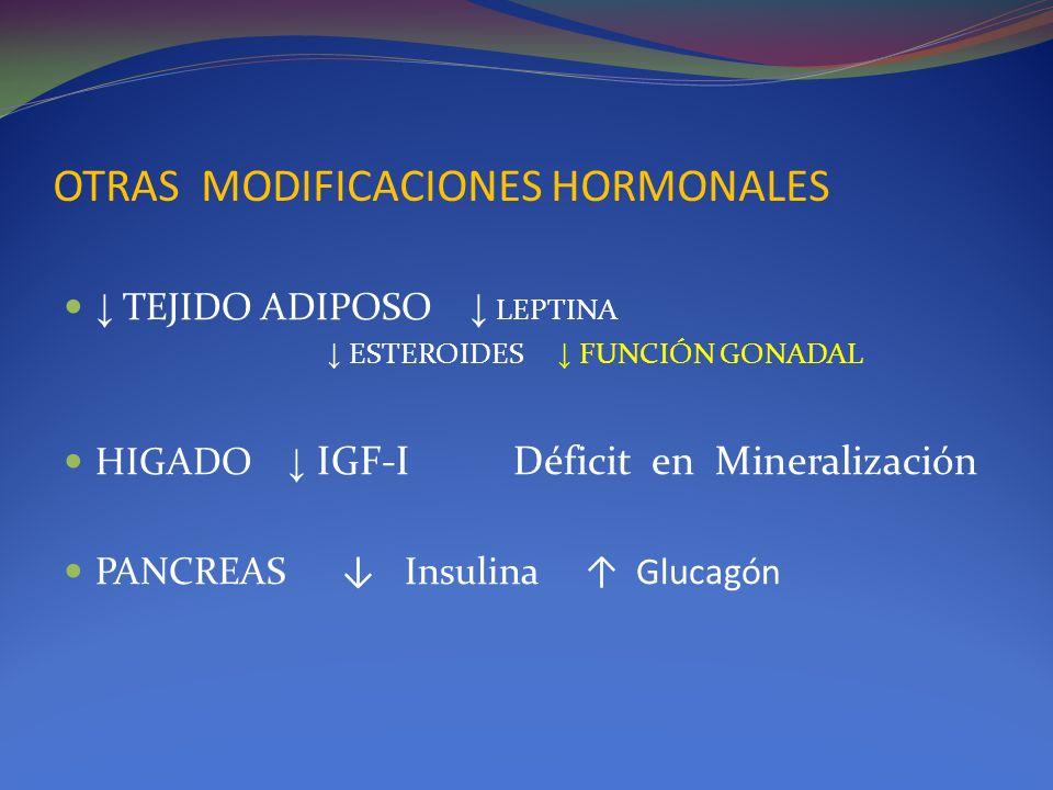 OTRAS MODIFICACIONES HORMONALES TEJIDO ADIPOSO LEPTINA ESTEROIDES FUNCIÓN GONADAL HIGADO IGF-I Déficit en Mineralización PANCREAS Insulina Glucagón