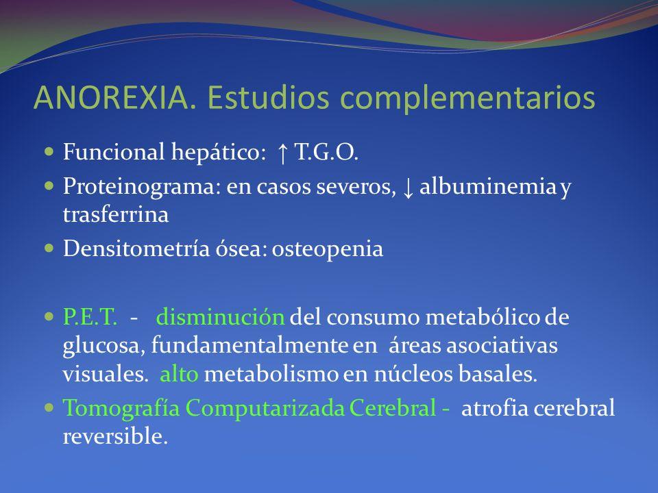 ANOREXIA. Estudios complementarios Funcional hepático: T.G.O. Proteinograma: en casos severos, albuminemia y trasferrina Densitometría ósea: osteopeni