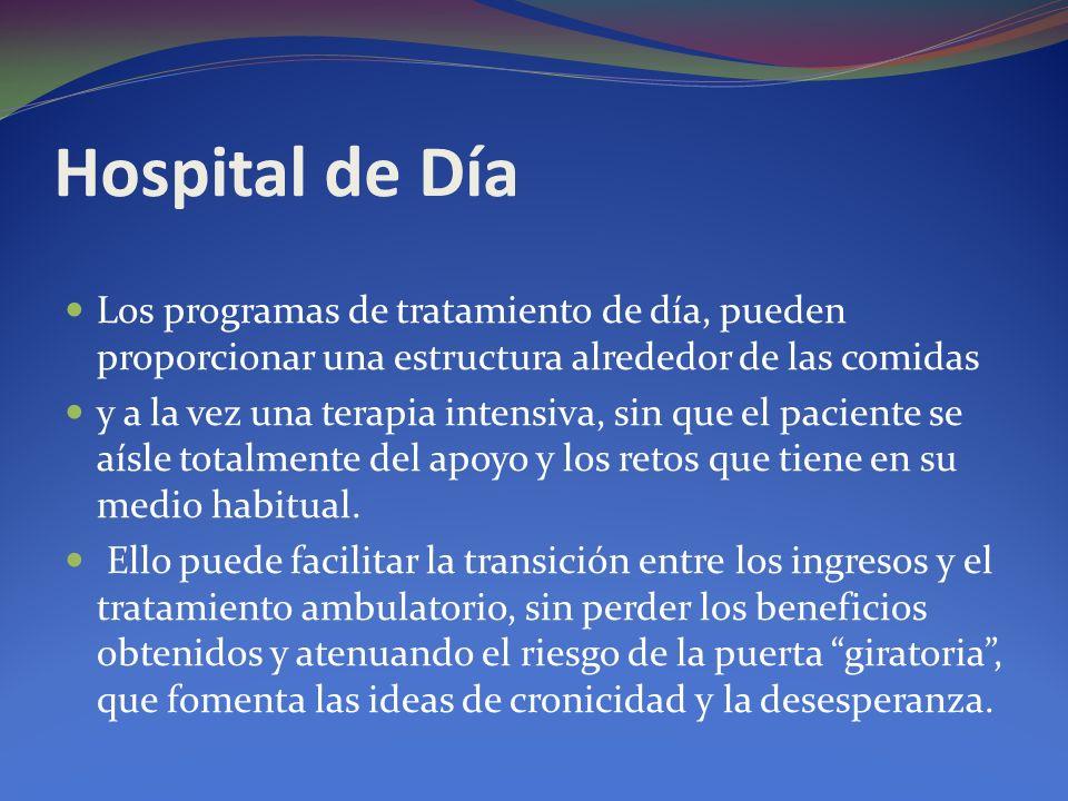 Hospital de Día Los programas de tratamiento de día, pueden proporcionar una estructura alrededor de las comidas y a la vez una terapia intensiva, sin