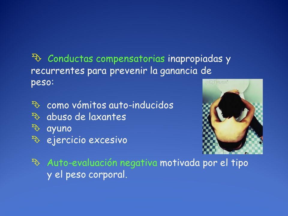 Conductas compensatorias inapropiadas y recurrentes para prevenir la ganancia de peso: como vómitos auto-inducidos abuso de laxantes ayuno ejercicio e