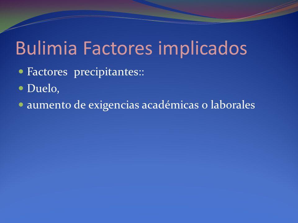 Bulimia Factores implicados Factores precipitantes:: Duelo, aumento de exigencias académicas o laborales