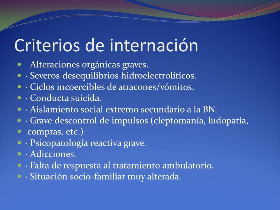 Criterios de internación Alteraciones orgánicas graves. · Severos desequilibrios hidroelectrolíticos. · Ciclos incoercibles de atracones/vómitos. · Co