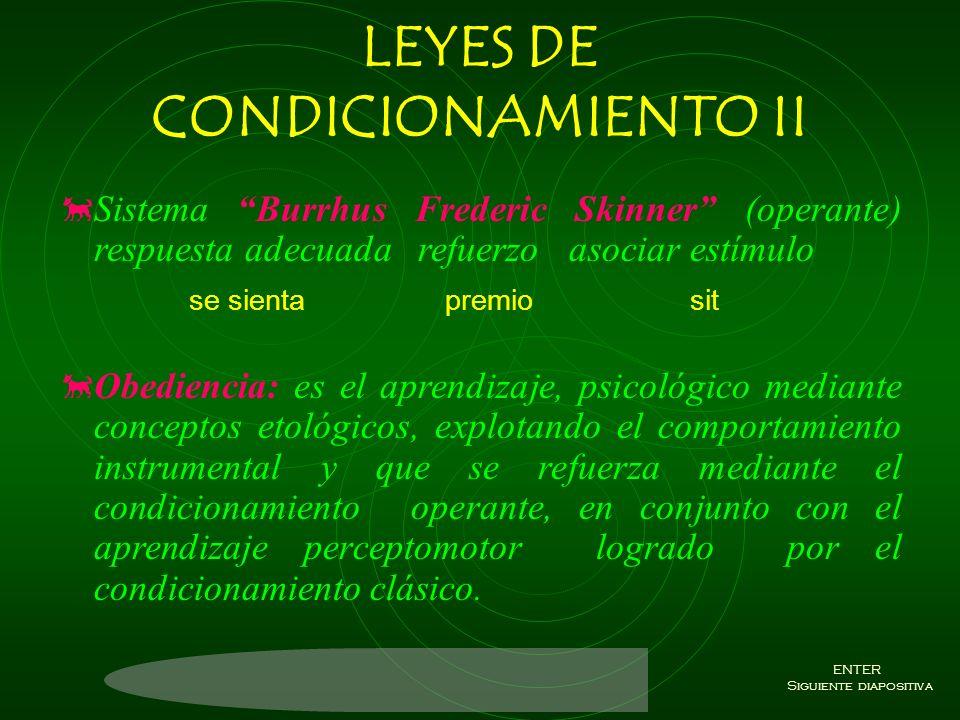 LEYES DE CONDICIONAMIENTO Ley de Contiguidad: estímulos que ocurren juntos y se asocian; dos estímulos que se unen. Ley de Efecto: para que los estímu