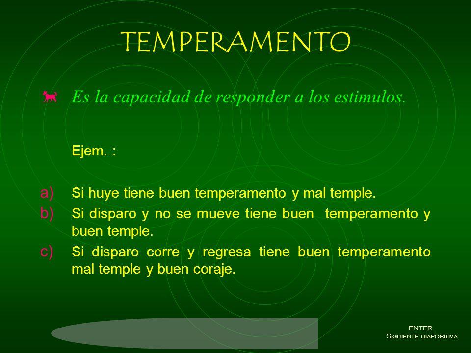 DIVISION DE CARACTER Estos cuatro conceptos son los que forman la perronalidad de nuestros compañeros canideos. a) Temperamento. b) Temple. c) Coraje.