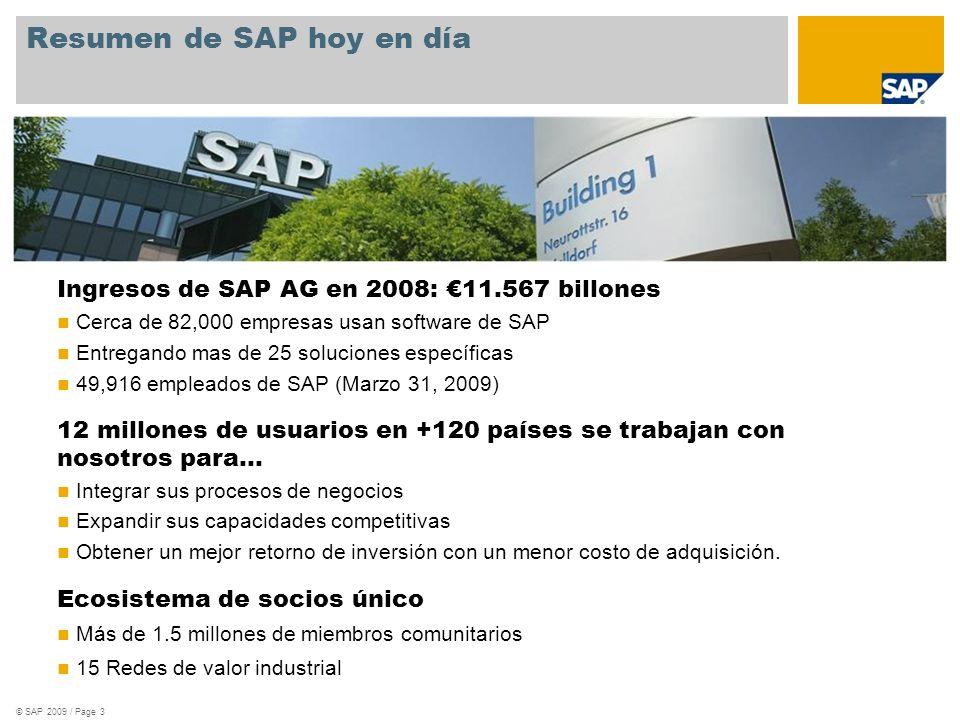 Resumen de SAP hoy en día © SAP 2009 / Page 3 Ingresos de SAP AG en 2008: 11.567 billones Cerca de 82,000 empresas usan software de SAP Entregando mas