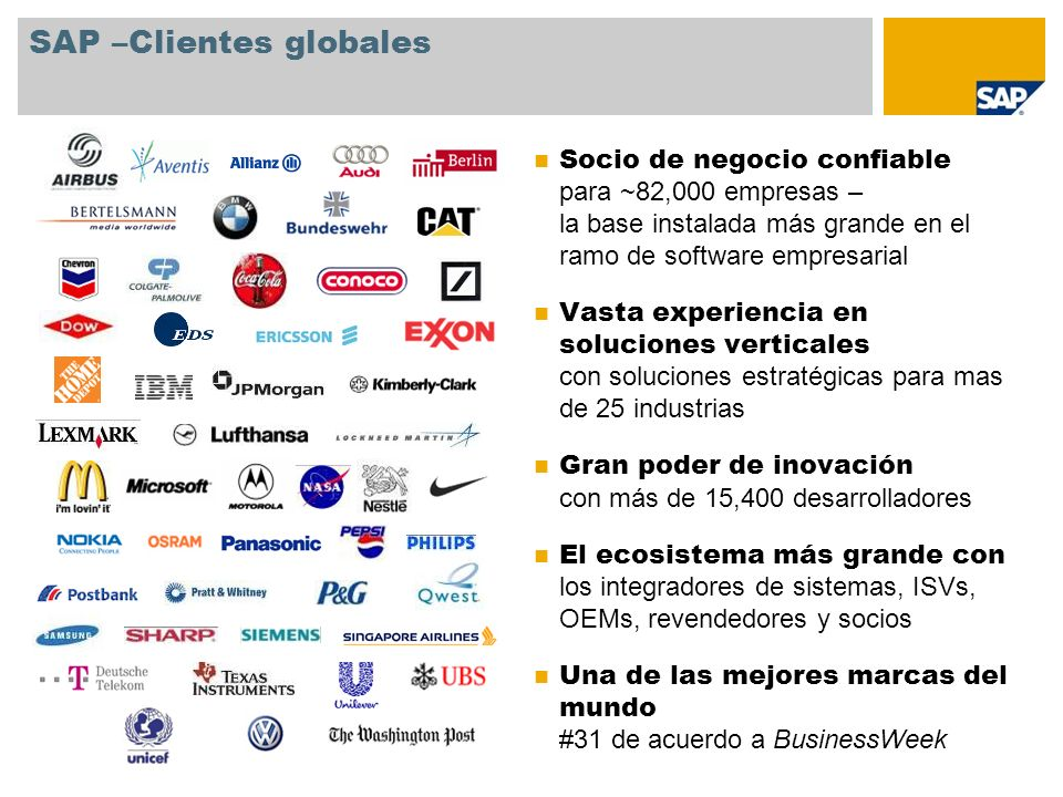 SAP –Clientes globales Socio de negocio confiable para ~82,000 empresas – la base instalada más grande en el ramo de software empresarial Vasta experi