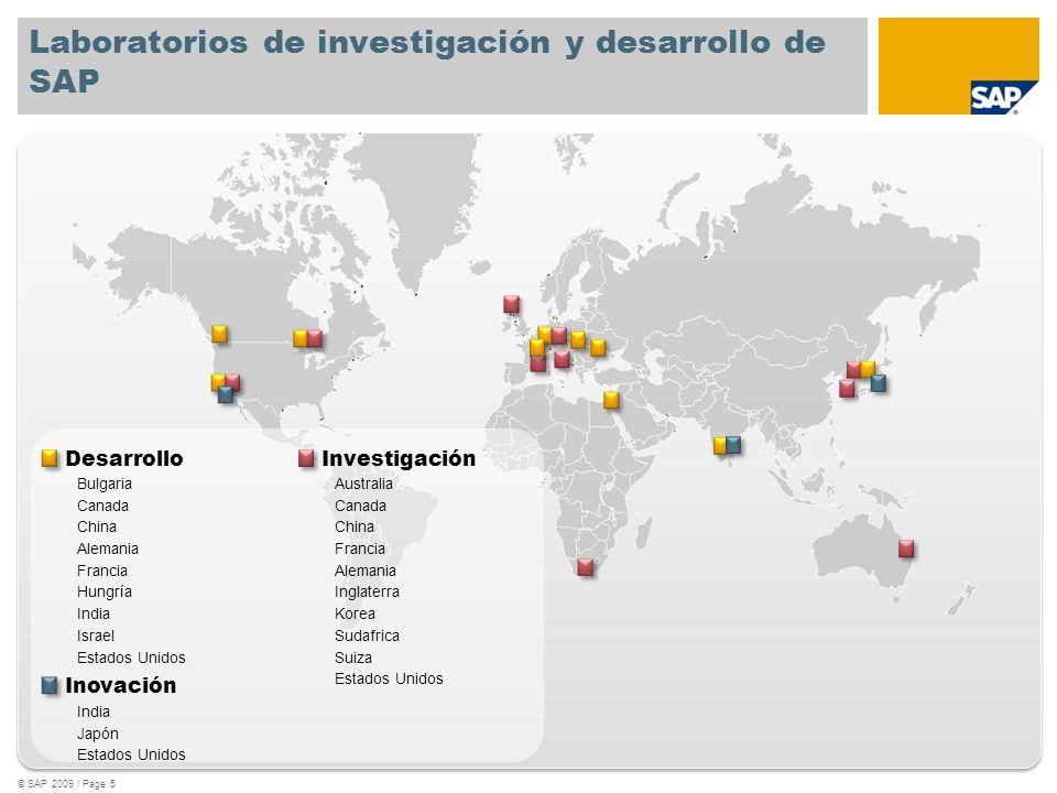 Laboratorios de investigación y desarrollo de SAP © SAP 2009 / Page 5 Desarrollo Bulgaria Canada China Alemania Francia Hungría India Israel Estados U