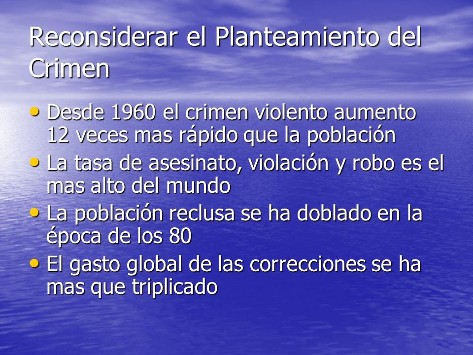 Reconsiderar el Planteamiento del Crimen Desde 1960 el crimen violento aumento 12 veces mas rápido que la población Desde 1960 el crimen violento aume