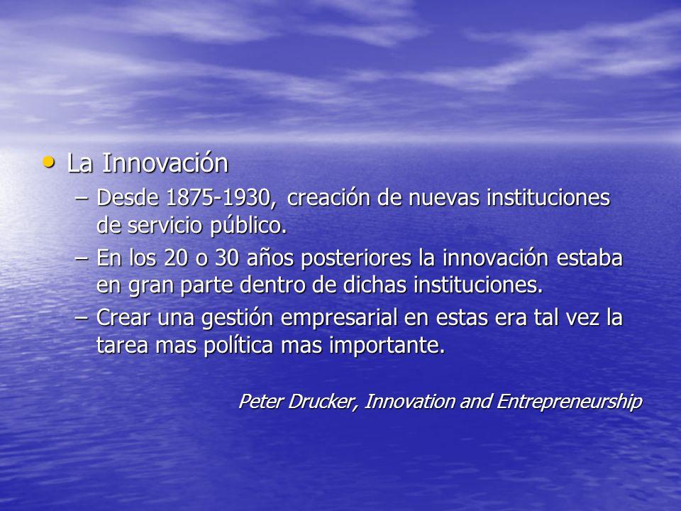 La Innovación La Innovación –Desde 1875-1930, creación de nuevas instituciones de servicio público. –En los 20 o 30 años posteriores la innovación est