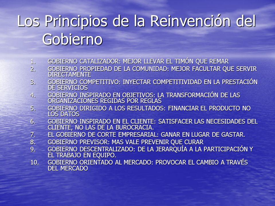 Los Principios de la Reinvención del Gobierno 1.GOBIERNO CATALIZADOR: MEJOR LLEVAR EL TIMÓN QUE REMAR 2.GOBIERNO PROPIEDAD DE LA COMUNIDAD: MEJOR FACU