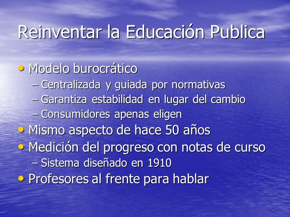 Reinventar la Educación Publica Modelo burocrático Modelo burocrático –Centralizada y guiada por normativas –Garantiza estabilidad en lugar del cambio