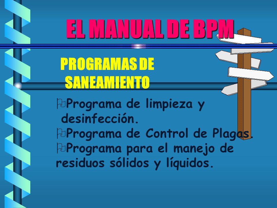 EL MANUAL DE BPM PROGRAMAS DE SANEAMIENTO Programa de limpieza y desinfección. Programa de Control de Plagas. Programa para el manejo de residuos sóli