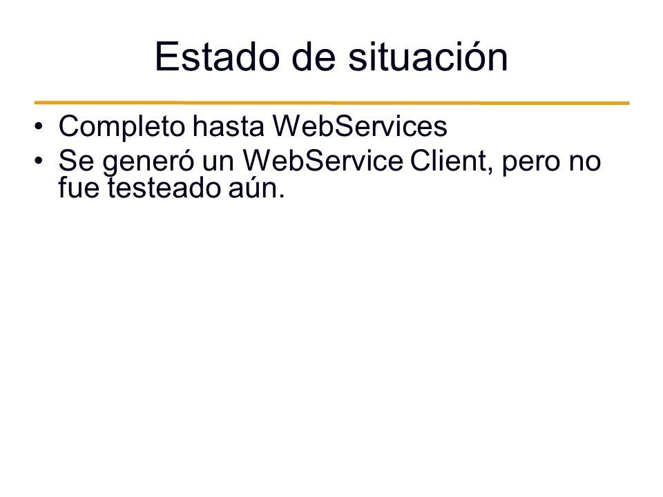 Estado de situación Completo hasta WebServices Se generó un WebService Client, pero no fue testeado aún.