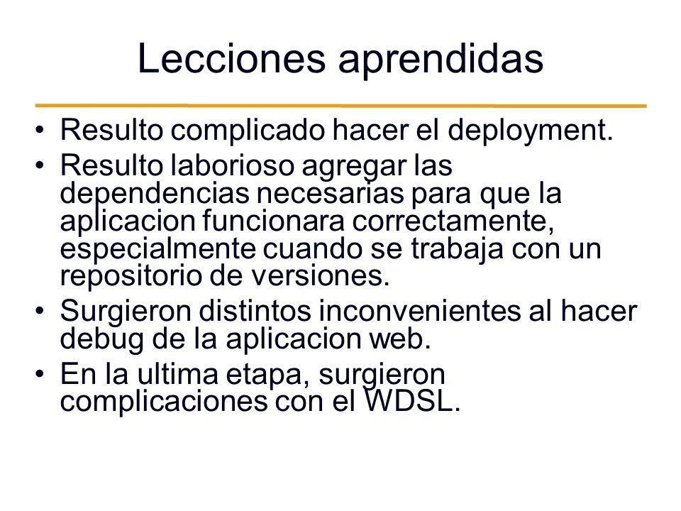 Lecciones aprendidas Resulto complicado hacer el deployment.