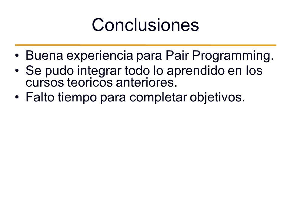 Conclusiones Buena experiencia para Pair Programming.