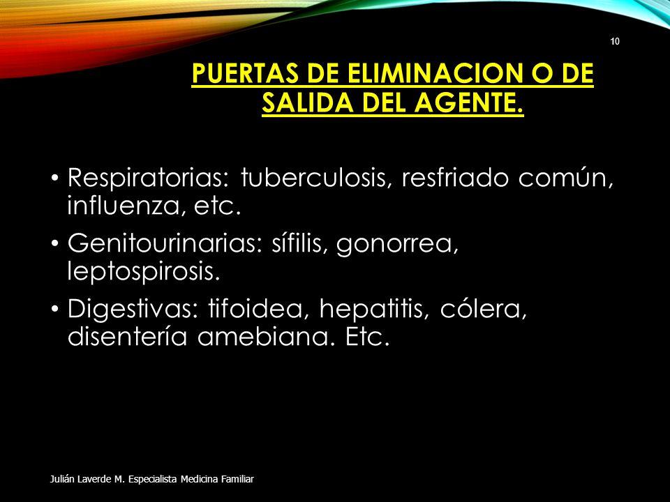 PUERTAS DE ELIMINACION O DE SALIDA DEL AGENTE. Respiratorias: tuberculosis, resfriado común, influenza, etc. Genitourinarias: sífilis, gonorrea, lepto