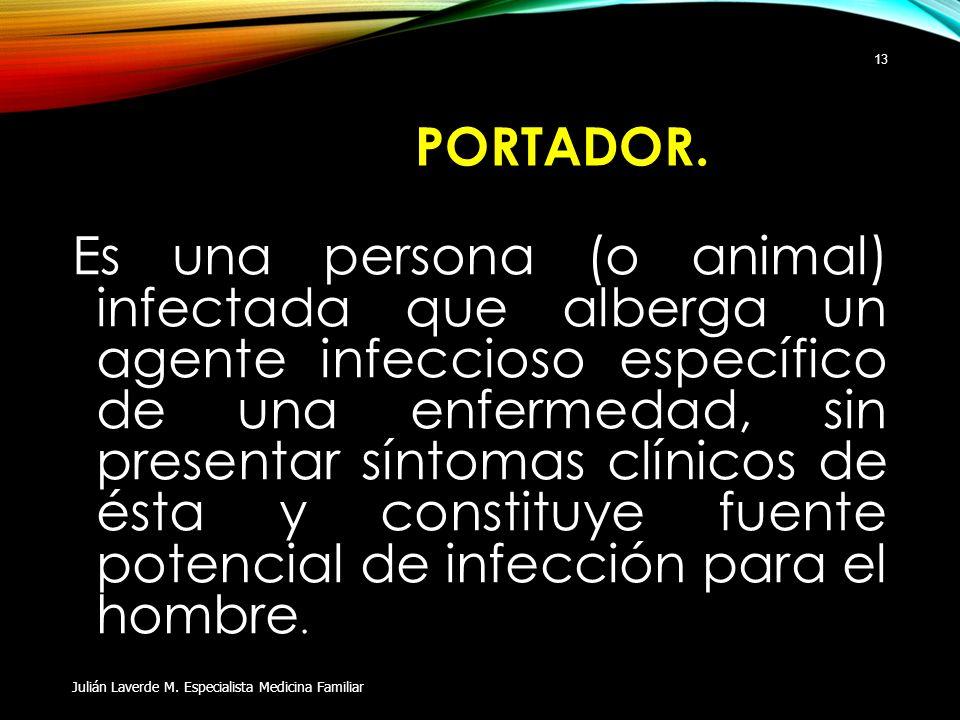 PORTADOR. Es una persona (o animal) infectada que alberga un agente infeccioso específico de una enfermedad, sin presentar síntomas clínicos de ésta y