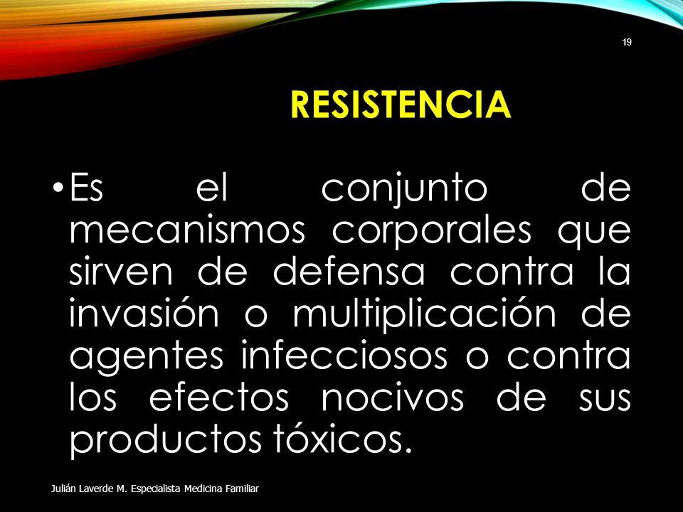 RESISTENCIA Es el conjunto de mecanismos corporales que sirven de defensa contra la invasión o multiplicación de agentes infecciosos o contra los efec