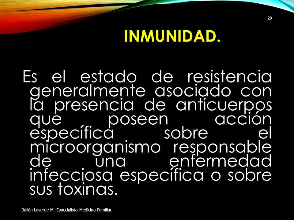 INMUNIDAD. Es el estado de resistencia generalmente asociado con la presencia de anticuerpos que poseen acción específica sobre el microorganismo resp