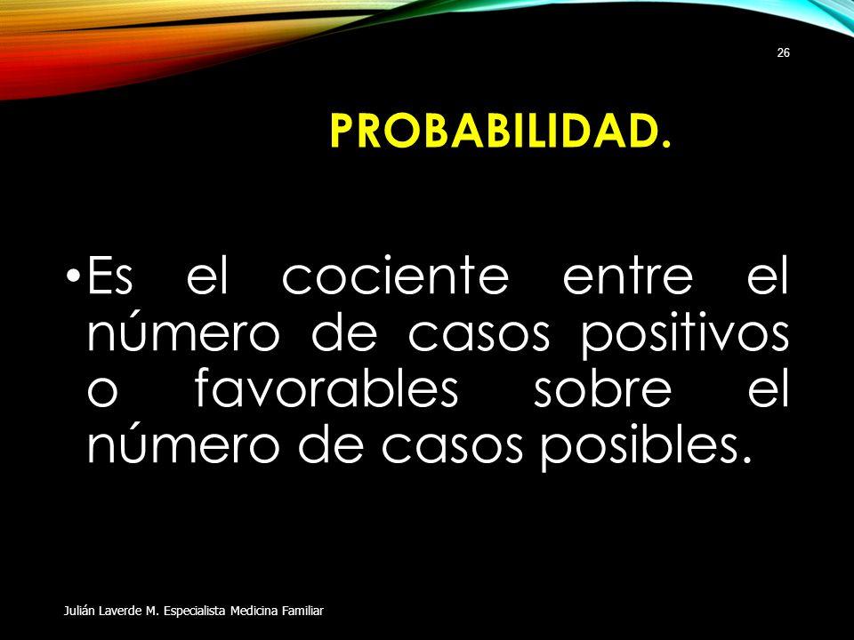 PROBABILIDAD. Es el cociente entre el número de casos positivos o favorables sobre el número de casos posibles. Julián Laverde M. Especialista Medicin