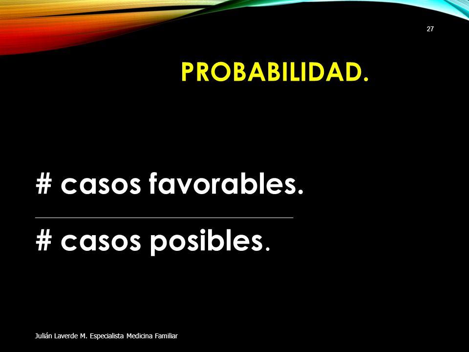 PROBABILIDAD. # casos favorables. ____________________________________________ # casos posibles. Julián Laverde M. Especialista Medicina Familiar 27