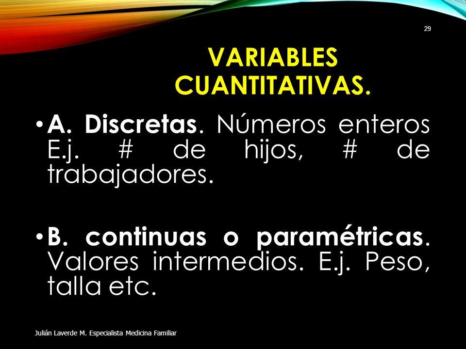 VARIABLES CUANTITATIVAS. A. Discretas. Números enteros E.j. # de hijos, # de trabajadores. B. continuas o paramétricas. Valores intermedios. E.j. Peso