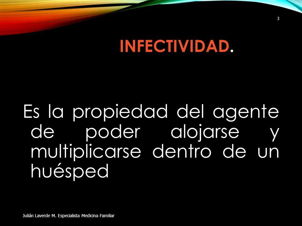 INFECTIVIDAD. Es la propiedad del agente de poder alojarse y multiplicarse dentro de un huésped Julián Laverde M. Especialista Medicina Familiar 3