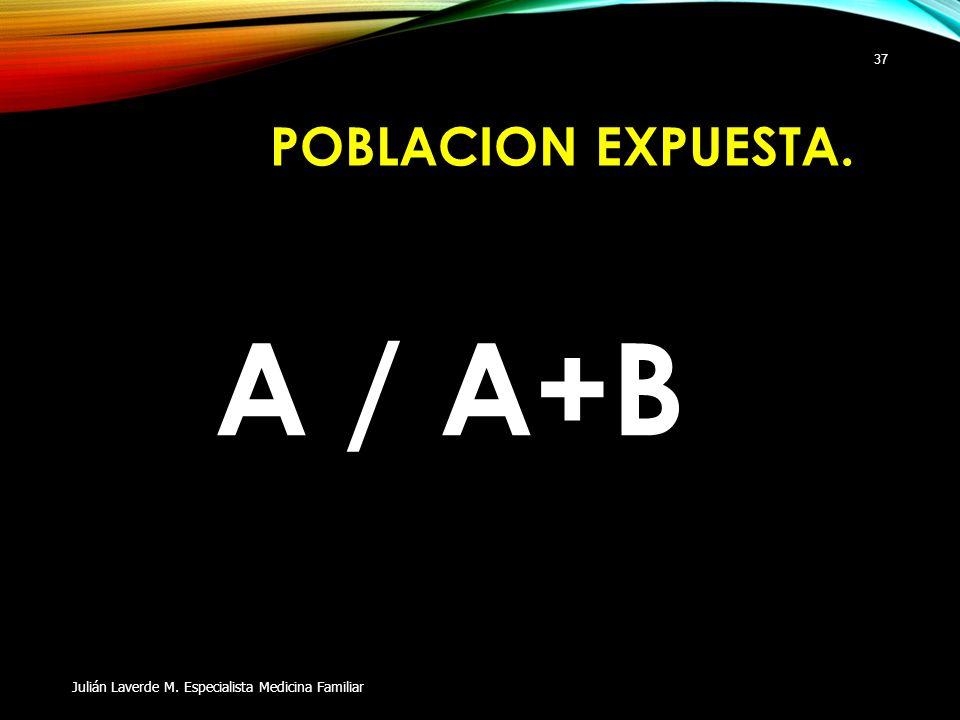 POBLACION EXPUESTA. A / A+B Julián Laverde M. Especialista Medicina Familiar 37