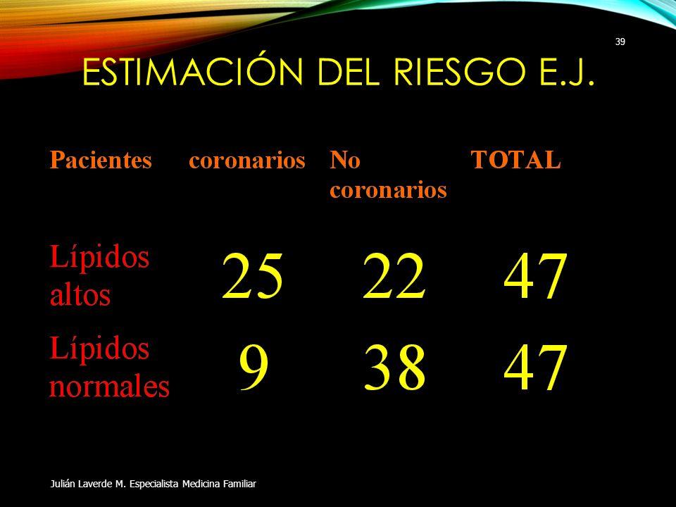 ESTIMACIÓN DEL RIESGO E.J. Julián Laverde M. Especialista Medicina Familiar 39