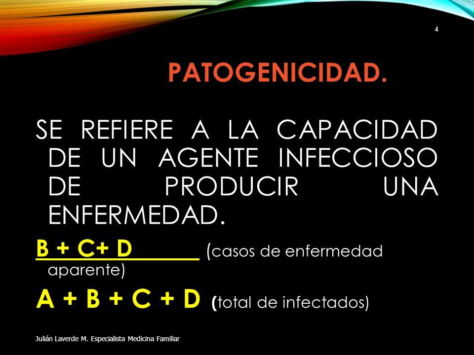 PATOGENICIDAD. SE REFIERE A LA CAPACIDAD DE UN AGENTE INFECCIOSO DE PRODUCIR UNA ENFERMEDAD. B + C+ D ( casos de enfermedad aparente) A + B + C + D (