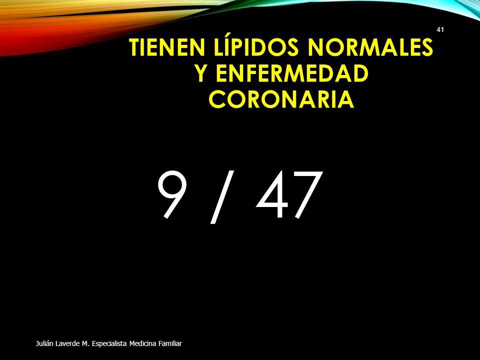 TIENEN LÍPIDOS NORMALES Y ENFERMEDAD CORONARIA 9 / 47 Julián Laverde M. Especialista Medicina Familiar 41