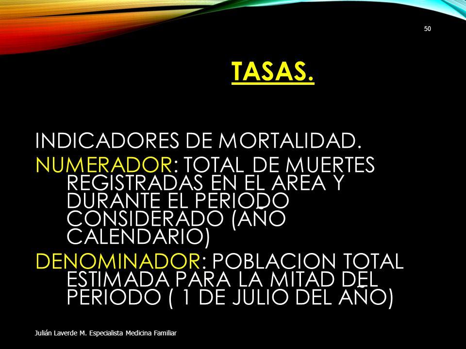 TASAS. INDICADORES DE MORTALIDAD. NUMERADOR: TOTAL DE MUERTES REGISTRADAS EN EL AREA Y DURANTE EL PERIODO CONSIDERADO (AÑO CALENDARIO) DENOMINADOR: PO