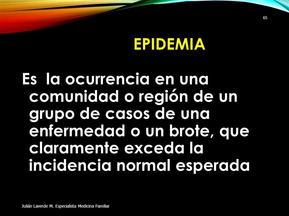 EPIDEMIA Es la ocurrencia en una comunidad o región de un grupo de casos de una enfermedad o un brote, que claramente exceda la incidencia normal espe