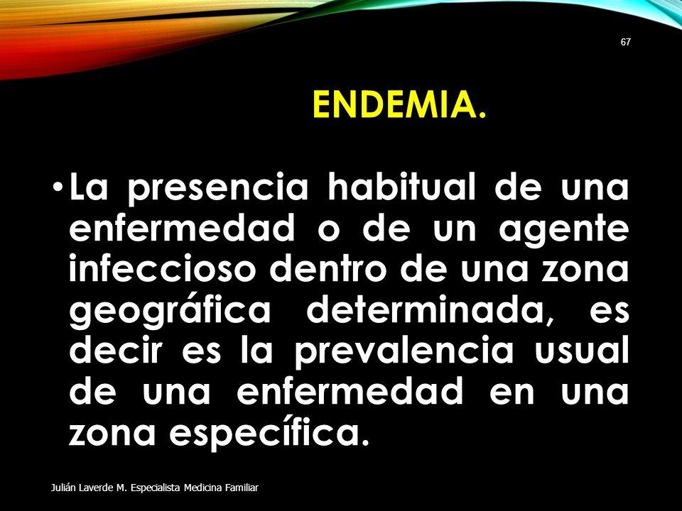 ENDEMIA. La presencia habitual de una enfermedad o de un agente infeccioso dentro de una zona geográfica determinada, es decir es la prevalencia usual