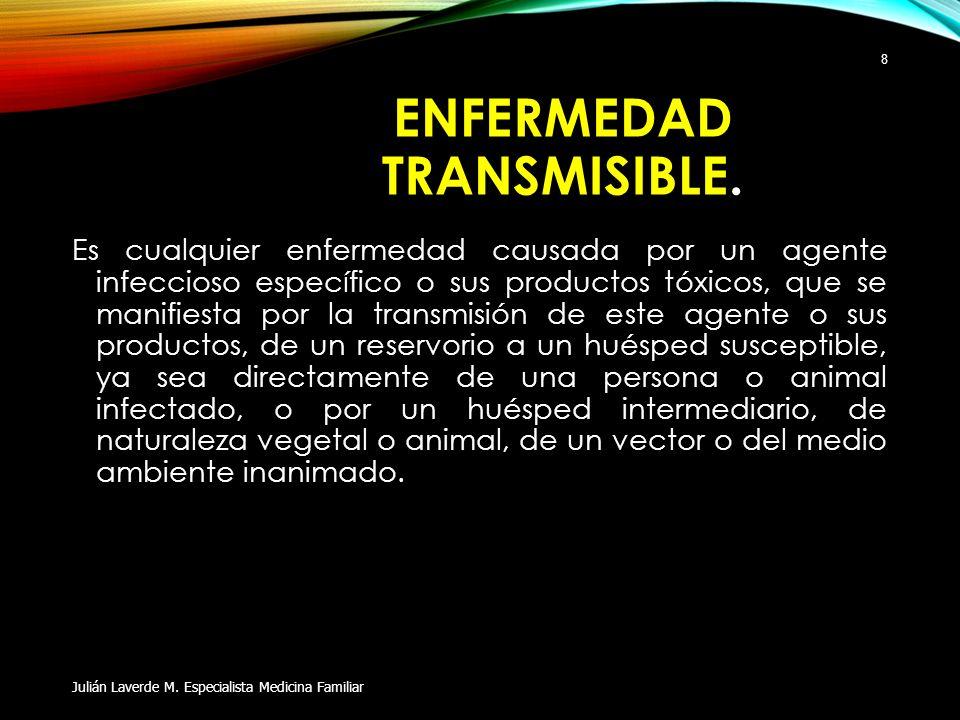 ENFERMEDAD TRANSMISIBLE. Es cualquier enfermedad causada por un agente infeccioso específico o sus productos tóxicos, que se manifiesta por la transmi
