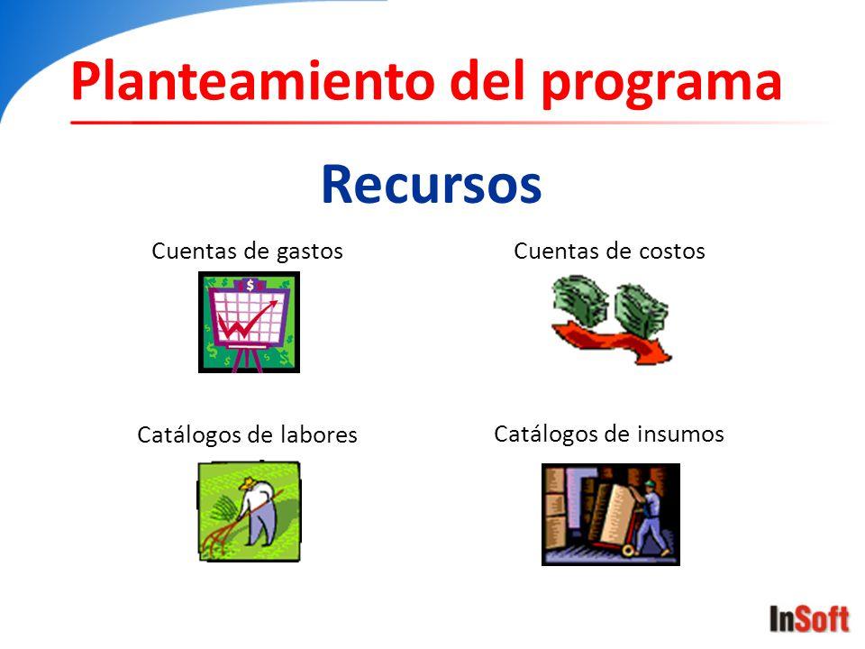 Planteamiento del programa Recursos Cuentas de costos Cuentas de gastos Catálogos de labores Catálogos de insumos