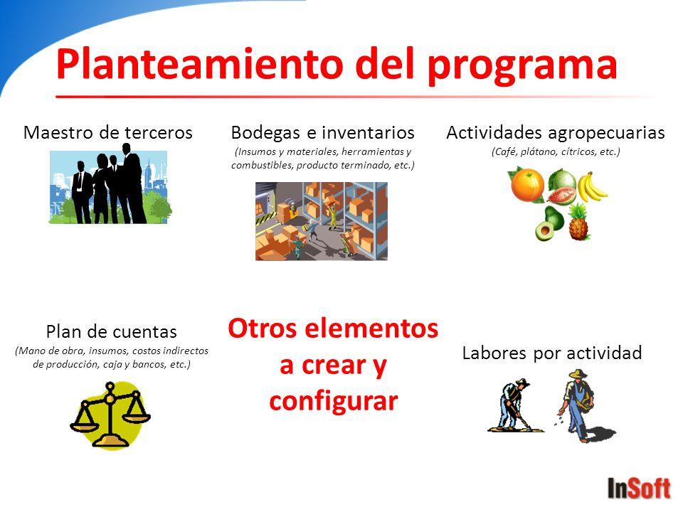 Otros elementos a crear y configurar Planteamiento del programa Maestro de terceros Plan de cuentas (Mano de obra, insumos, costos indirectos de produ