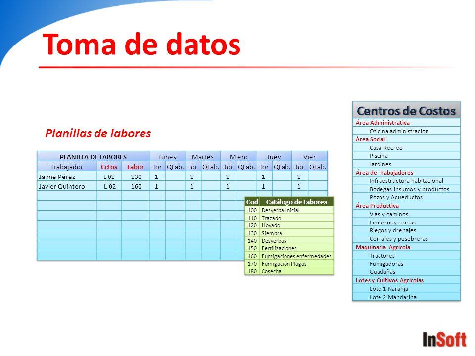Toma de datos Planillas de labores