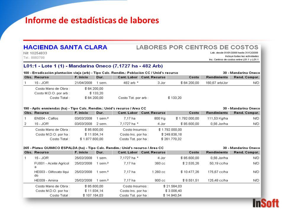 Informe de estadísticas de labores