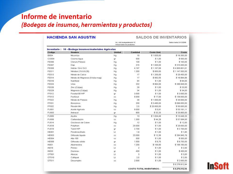 Informe de inventario (Bodegas de insumos, herramientas y productos)
