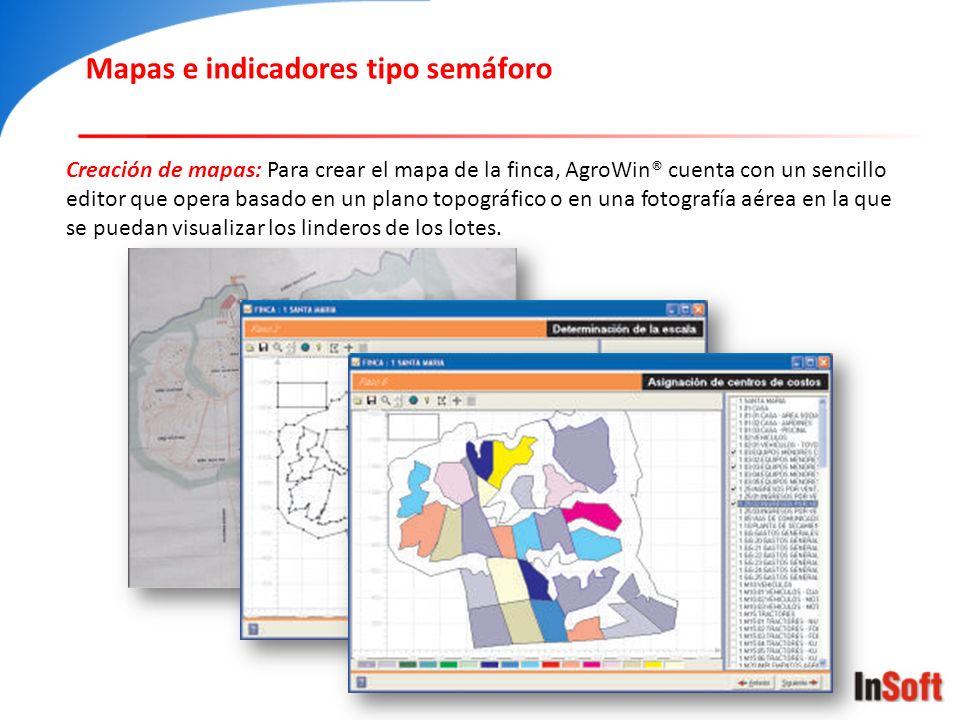 Creación de mapas: Para crear el mapa de la finca, AgroWin® cuenta con un sencillo editor que opera basado en un plano topográfico o en una fotografía