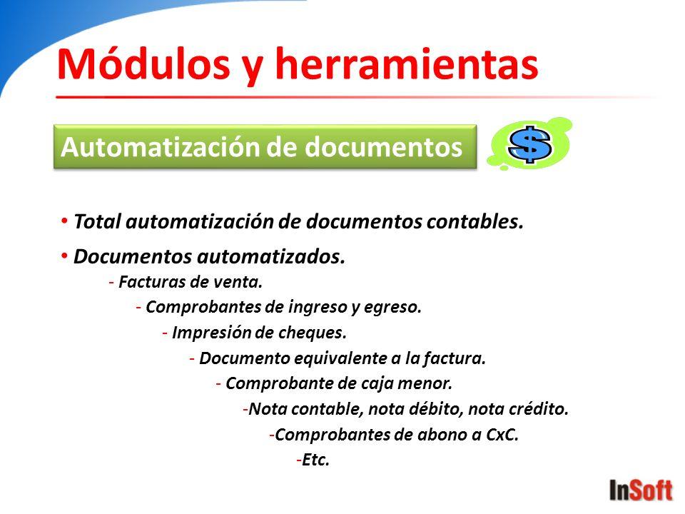 Módulos y herramientas Automatización de documentos Total automatización de documentos contables. Documentos automatizados. - Facturas de venta. - Com