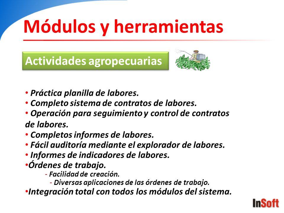 Módulos y herramientas Actividades agropecuarias Práctica planilla de labores. Completo sistema de contratos de labores. Operación para seguimiento y