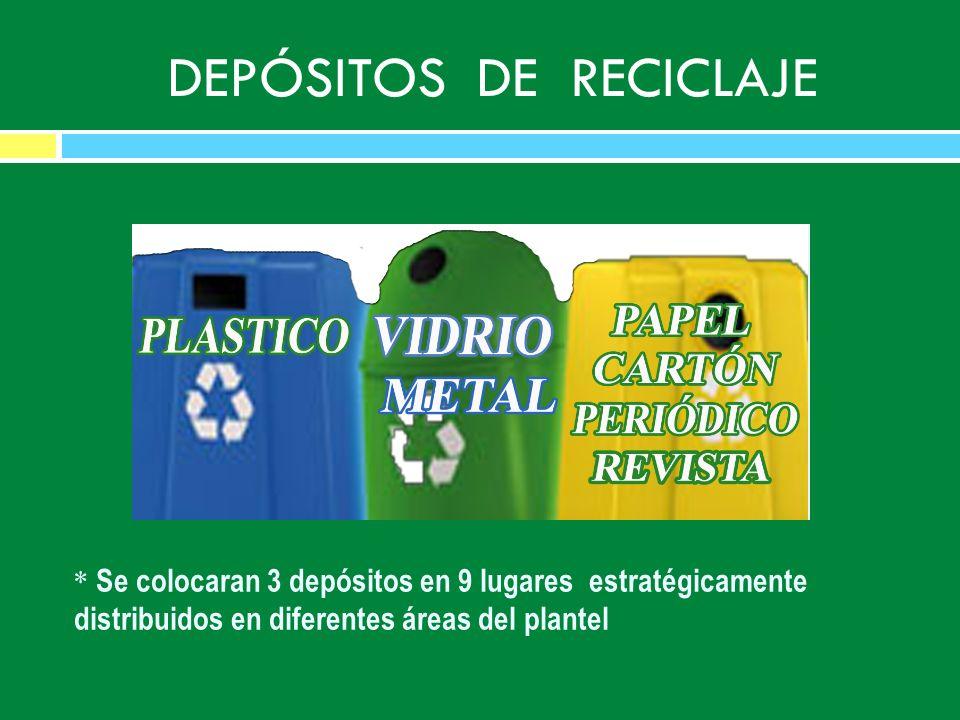 DEPÓSITOS DE RECICLAJE * Se colocaran 3 depósitos en 9 lugares estratégicamente distribuidos en diferentes áreas del plantel