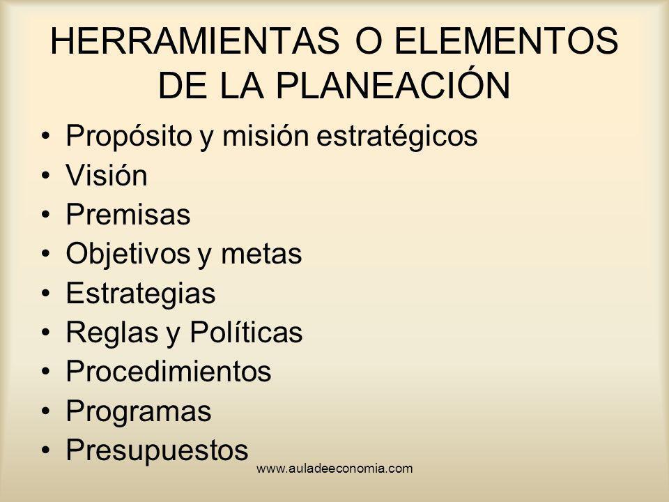 www.auladeeconomia.com HERRAMIENTAS O ELEMENTOS DE LA PLANEACIÓN Propósito y misión estratégicos Visión Premisas Objetivos y metas Estrategias Reglas