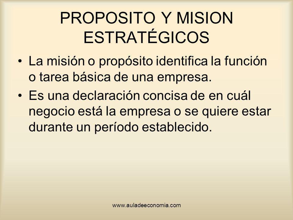 www.auladeeconomia.com PROPOSITO Y MISION ESTRATÉGICOS La misión o propósito identifica la función o tarea básica de una empresa. Es una declaración c