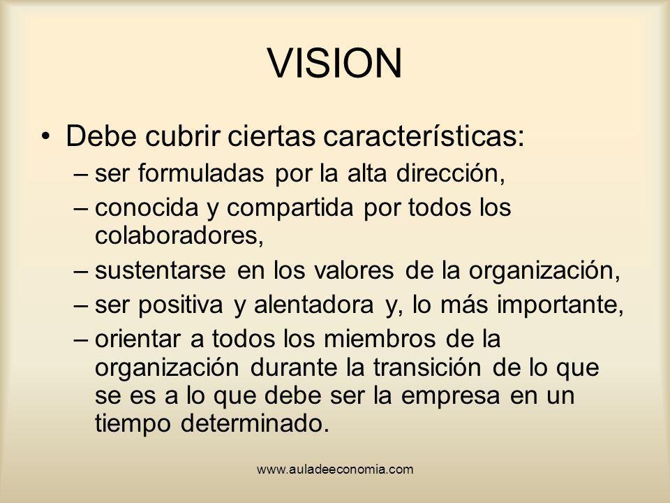 www.auladeeconomia.com VISION Debe cubrir ciertas características: –ser formuladas por la alta dirección, –conocida y compartida por todos los colabor