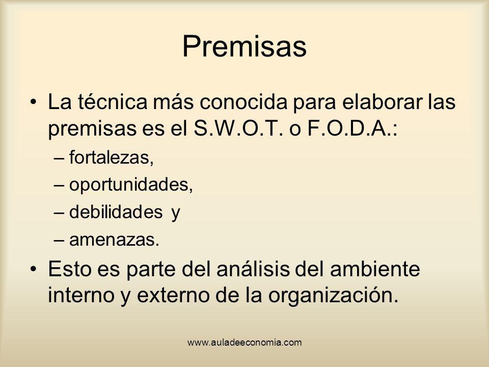 www.auladeeconomia.com Premisas La técnica más conocida para elaborar las premisas es el S.W.O.T. o F.O.D.A.: –fortalezas, –oportunidades, –debilidade
