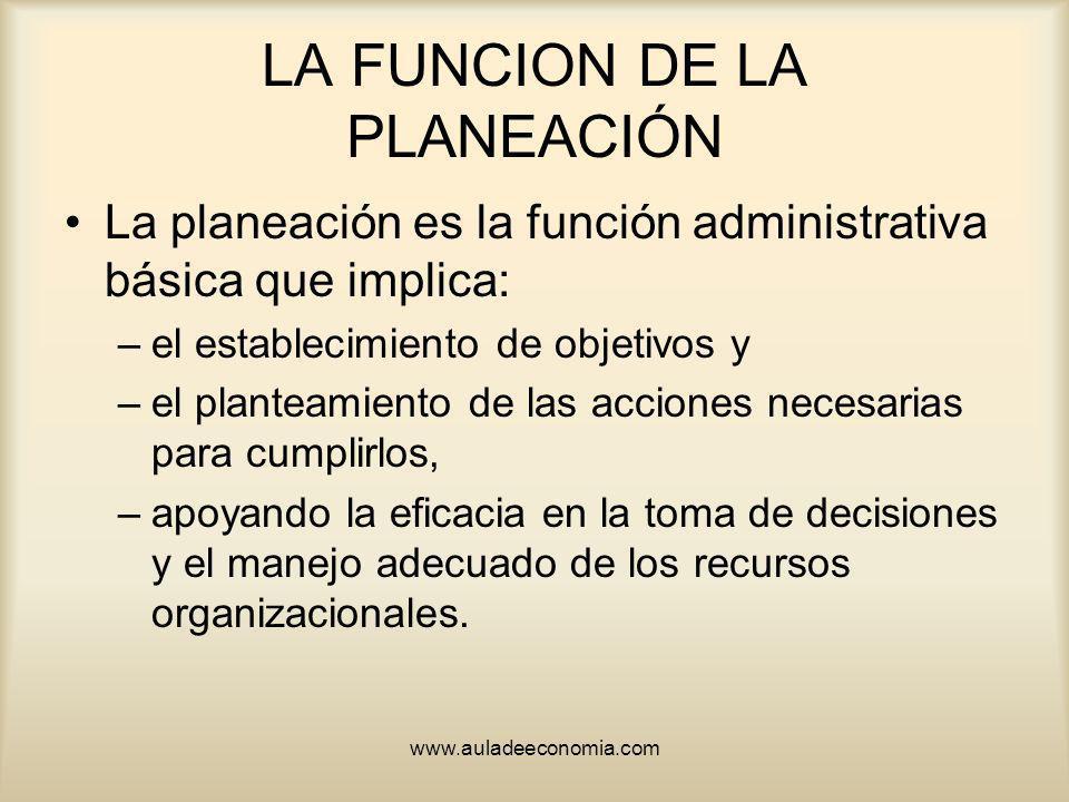 www.auladeeconomia.com LA FUNCION DE LA PLANEACIÓN La planeación es la función administrativa básica que implica: –el establecimiento de objetivos y –