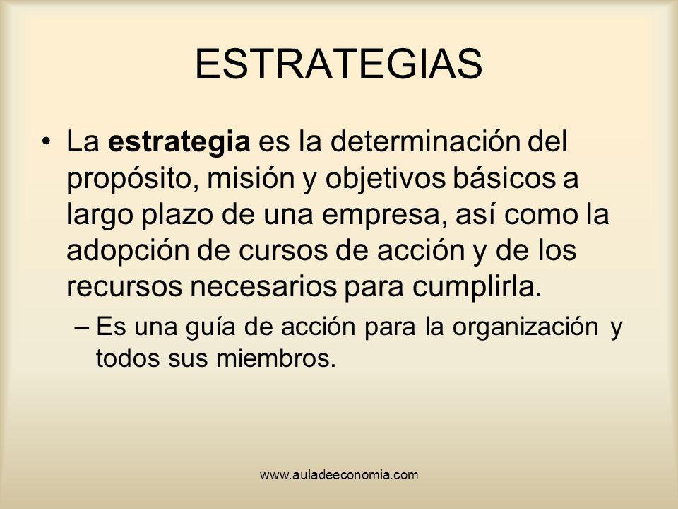 www.auladeeconomia.com ESTRATEGIAS La estrategia es la determinación del propósito, misión y objetivos básicos a largo plazo de una empresa, así como